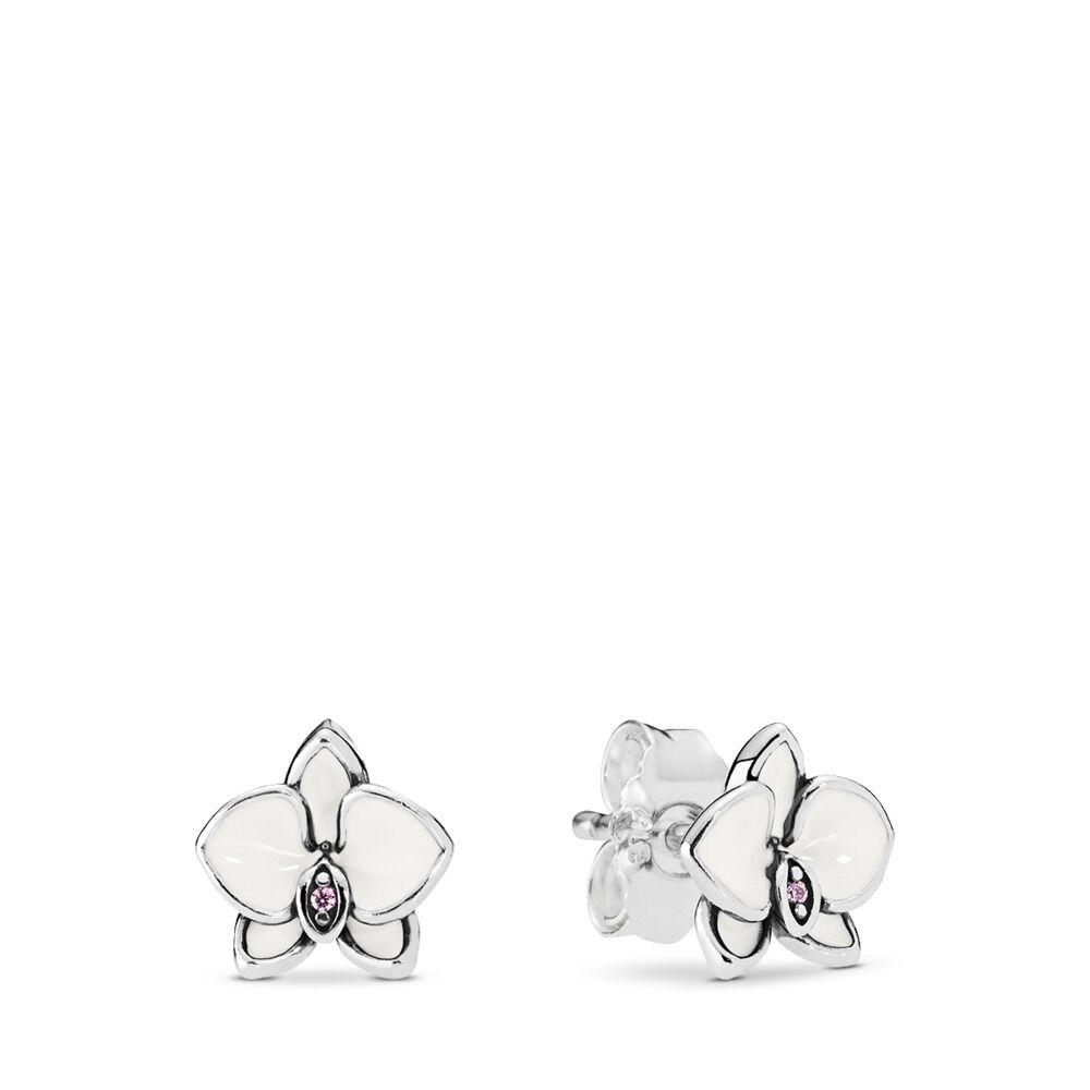 Clous d'Oreilles Orchidées Blanches