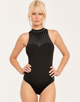 Zoggs Black Peak Hi Neck Swimsuit
