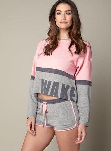 """Wake up"" sweater and shorts"