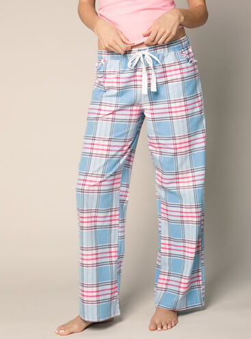 Chambrey check pyjama pants