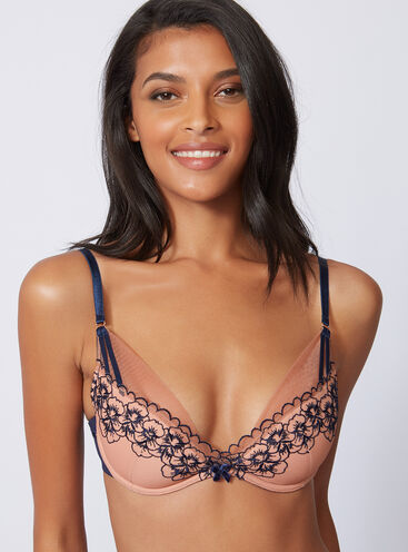 Floral embroidered plunge bra