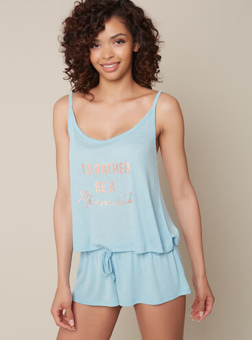 Mermaid cami and shorts pyjama set