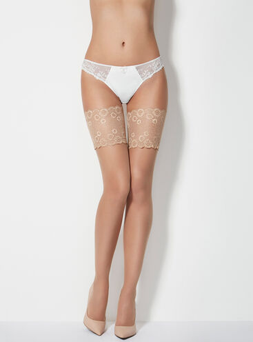 Lace top 15 denier glossy hold ups