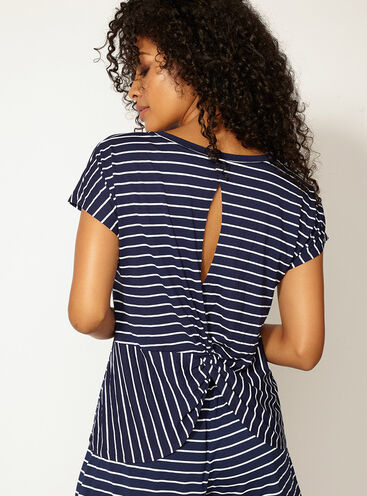 Jess stripe twist back tee