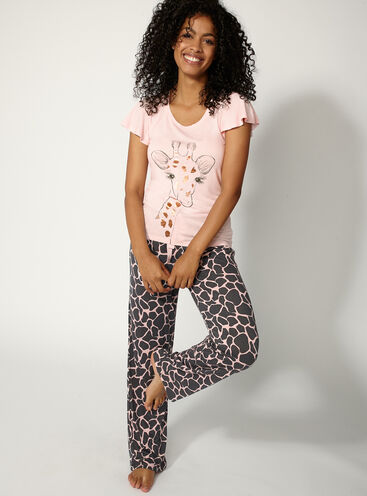 Giraffe tee and pants set