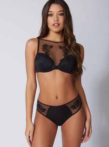 Bettie embroidered high waisted thong