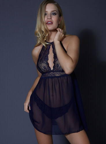 Yvette chiffon chemise and thong