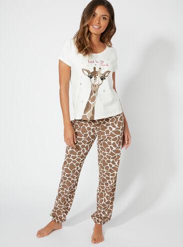 """Head in the clouds"" giraffe long pyjama set"
