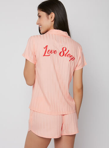 "Embroidered ""love sleep"" short pyjama set"