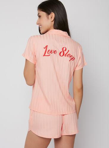 """Embroidered """"love sleep"""" short pyjama set"""